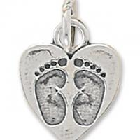 Sterling Silver Heart Charm with Baby Footprints Photo