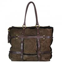 Salvatore Ferragamo - Suede & Shearling Handbag - Brown Photo