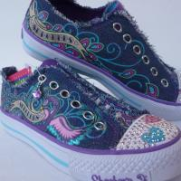 SKECHER Denim/Purple Twinkle Toes 83276L Size 3 Photo