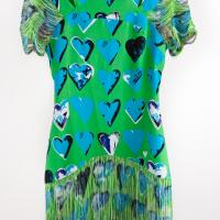 Versace for H&M - Green/Blue Heart Mini Dress with Fringe Photo