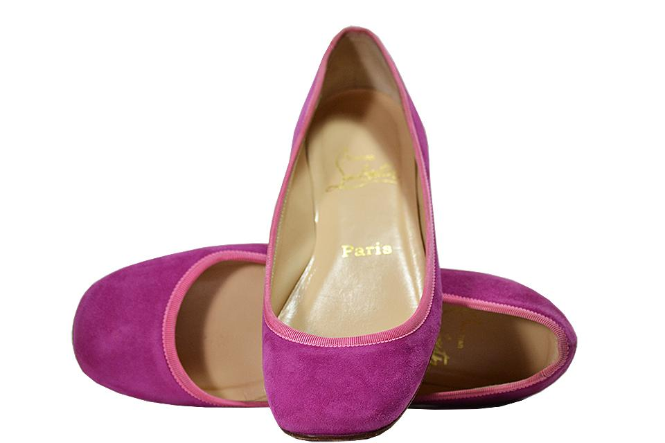 Christian Louboutin - Suede Flats - Pink - Size 6 M Large Photo