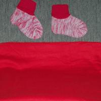 NEW RED POLYESTER THROW AND WOMEN'S STRETCH KNIT BOOTIES W/KNIT CUFF Photo