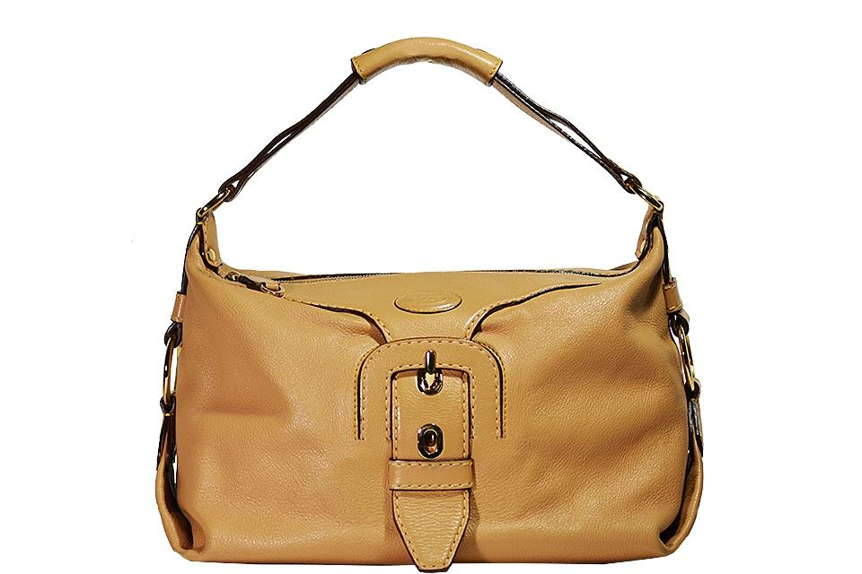 Tod's - Leather Buckle Handbag - Tan Large Photo