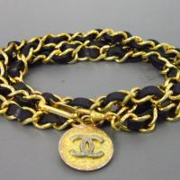 Vintage CHANEL chain belt with CC charm Photo