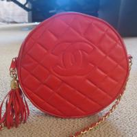 "Chanel Vintage Shoulder bag Red color with Tassle & 22"" Long Chain Photo"