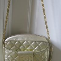 "Vintage Chanel Bag Gold Color with Tassle and 21"" Long Chain Photo"