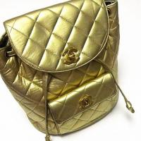 Vintage CHANEL gold lambskin backpack Photo