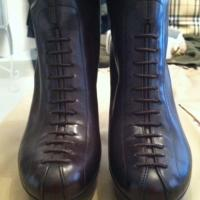 YSL Brown Leather Boots with Lace-Up Detail Photo