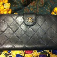 Vintage CHANEL black leather wallet Photo