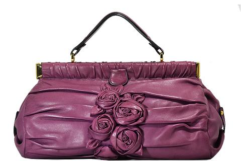 Valentino - Pleated Flower Handbag - Purple Photo