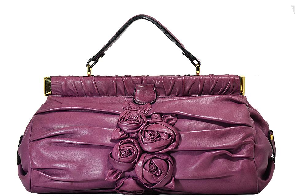 Valentino - Pleated Flower Handbag - Purple Large Photo