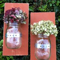 Set of 2 Rustic Wood Mason Jar Sconce Vases - 12 oz. Photo