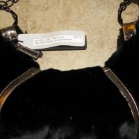 ♥♥♥ AD HOC ♥♥♥ BLACK MINK BAG, W METALLIC DET., MAD IN ITALY, NEW RET $975!!! Photo