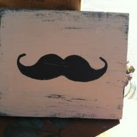 """I Mustache You a Question?"" Reclaimed Wood Mustache Sign Photo"