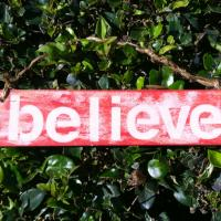 """Believe"" Wood Holiday Sign Photo"