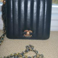 "Chanel Shoulder Bag Navy/Black Vintage  Lamb with 23"" Long Chain &Tassle Photo"