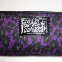 COACH DAISY OCELOT PRINT PURPLE LEOPARD  ZIPPY WALLET Photo