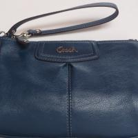 COACH Wristlet Ashley Large Leather Clutch Peacock pouch Photo
