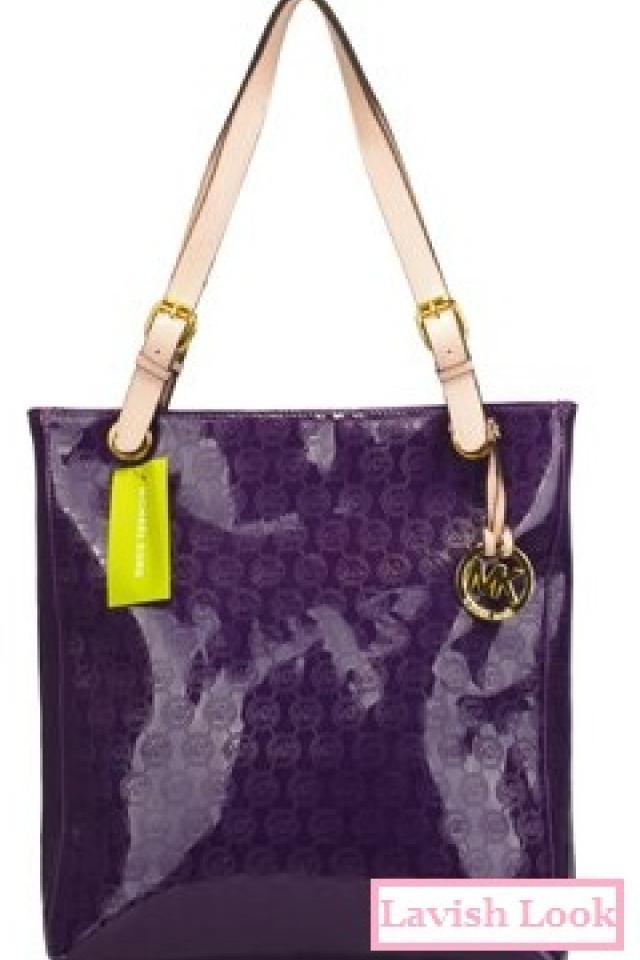 Michael Kors Purple Patent Logo Handbag Purse Tote Photo
