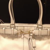 New w/ Tags: Coach White Pebble Leather Hamptons Large Carryall Handbag Photo
