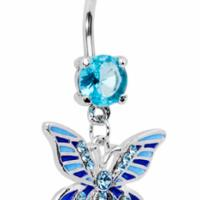 Blue Crystal Butterfly Design Dangle Style Navel Ring Photo