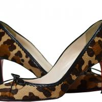 Christian Louboutin - Animal Print With Leather Trim Pumps - Multi - Size 7 M Photo