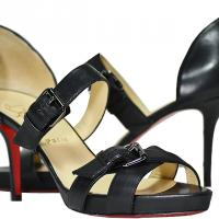 Christian Louboutin - Leather Buckle Sandals - Black - Size 9 M - Brand New Photo