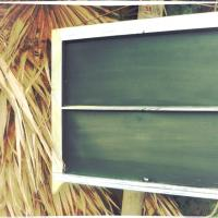 Double pane chalkboard with painted wood Photo