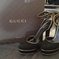 100% Auth Gucci Black Suede Heel with Gold Trim Photo
