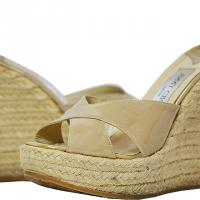 Jimmy Choo - Patent Leather Raffia Wedges - Beige - Size 7 M Photo