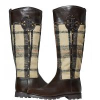 "Tory Burch - ""Colleen"" Plaid Riding Boots - Brown - Size 8.5 M Photo"