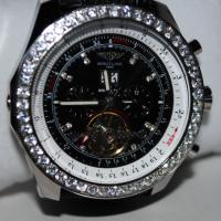 Breitling Black Leather Watch with Diamond Bezel Photo