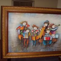 Painting by J Roybal, 6 musicians Photo