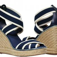 Tory Burch - Contrast Elastic Rope Wedges - Navy - Size 9 M - Brand New Photo