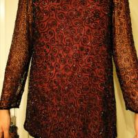 Fancy Vintage Burgundy Beaded Top Photo