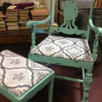 Shabby Chic Vintage Chair w/ Stool Photo