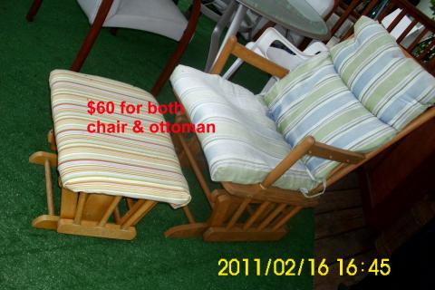 Rocking chair and ottoman, all wood hand crafted Photo
