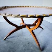 Mid Century Moroccan Brass Tray Table Photo