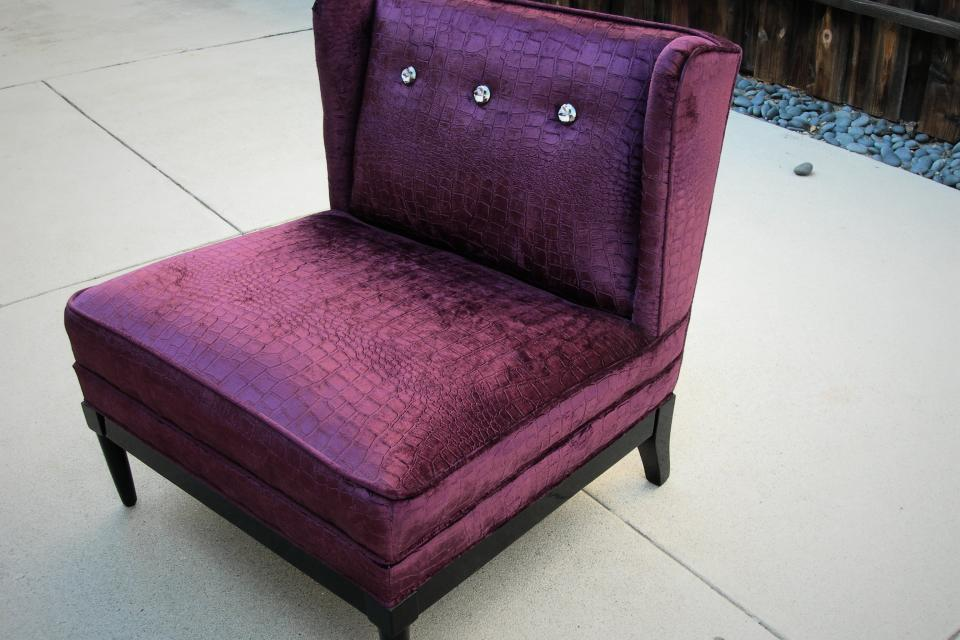 Vintage Purple Velvet Crocodile Chair Large Photo