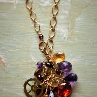 Crystal Gem Cluster necklace  Photo