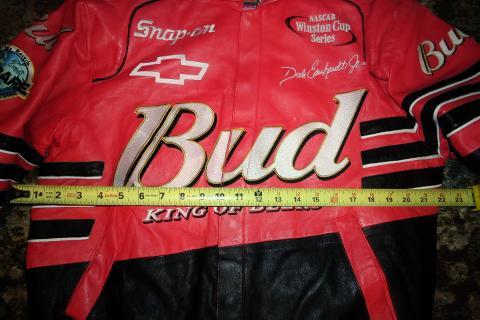 LEATHER JACKET, DALE EARNHARDT JR, BUDWEISER,NASCAR WINSTON CUP Photo