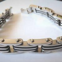 "New Bracelet-Stainless Steel and Rubber 8 1/2"" Photo"