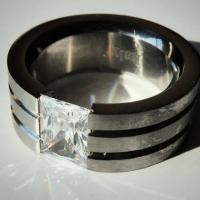 New Ladies Ring-Surgical Stainless Steel with Large CZ Stone 5 1/2 Photo