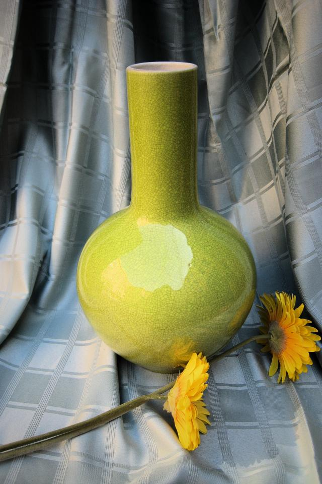 Green Round Ceramic Vase Photo
