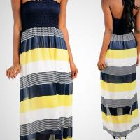 Navy-Yellow and White Dress Photo