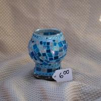 Cobalt blue glass tea candle holder Photo
