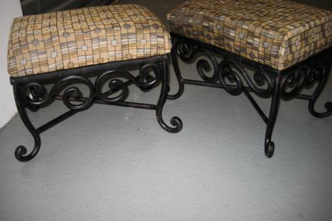 WROUGHT IRON FOOT STOOLS Photo