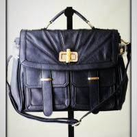 Navy Color Crossbody Bag w/Stylish Wooden Latch Photo