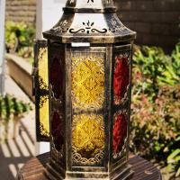 Hanging/Tabletop CANDLE LANTERN Color Glass Panels  Amber Red Yellow Photo