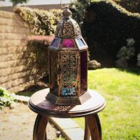 Hanging/Tabletop CANDLE LANTERN Color Glass   Photo